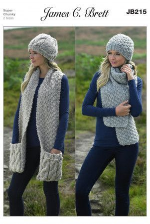 Hats and Scarves in James C. Brett Amazon Super Chunky (JB215)