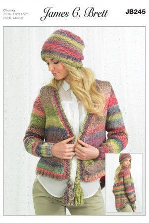 Cardigans and Hat in James C. Brett Marble Chunky (JB245)