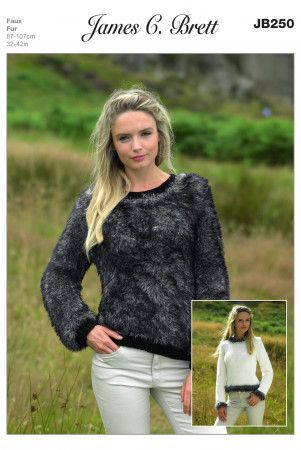 Sweaters in James C. Brett Chunky with Merino and Faux Fur Chunky (JB250)