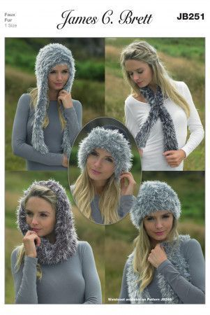 Snood, Neck Wrap and Hats in James C. Brett Faux Fur (JB251)