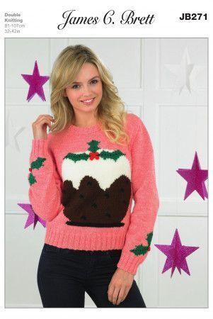 Ladies Christmas Pudding Sweater in James C. Brett Top Value DK (JB271)