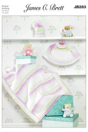 Cape, Blanket and Hat in James C. Brett Baby Marble DK (JB283)