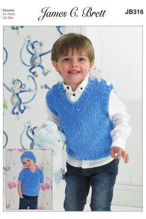 Slipover, Sweater and Hat in James C. Brett Flutterby Chunky (JB316)