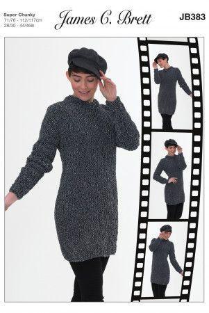Sweater Dress in James C. Brett Flutterby Animal Prints Super Chunky (JB383)