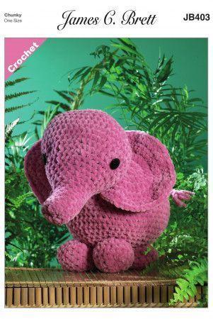 Ellie the Elephant in James C. Brett Flutterby Super Chunky (JB403)