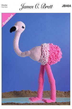 Flo the Flamingo in James C. Brett Flutterby Super Chunky (JB404)