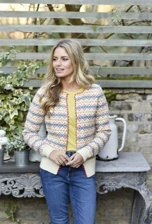 women's classic fair isle jacket with picot edging knitting pattern