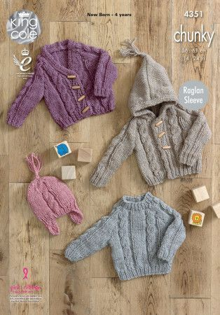 Sweater, Cardigans and Hat in King Cole Magnum Chunky (4351)