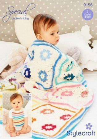 Blanket and Baby Bib in Stylecraft Special DK and Classique Cotton DK (9156)