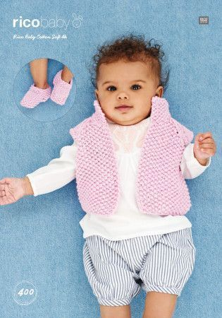 Waistcoat and Shoes in Rico Baby Cotton Soft DK (400)