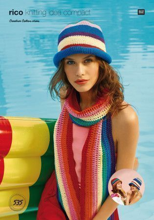 Scarf and Hats in Rico Creative Cotton Aran (535)