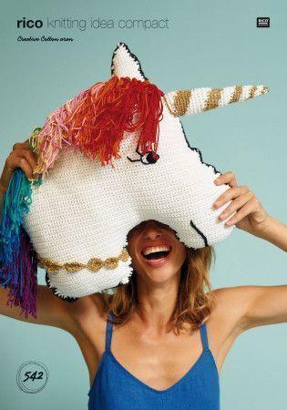 Unicorn Cushion in Rico Creative Cotton Aran (542)