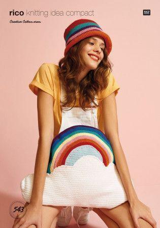 Cloud with Rainbow Cushion in Rico Creative Cotton Aran (543)