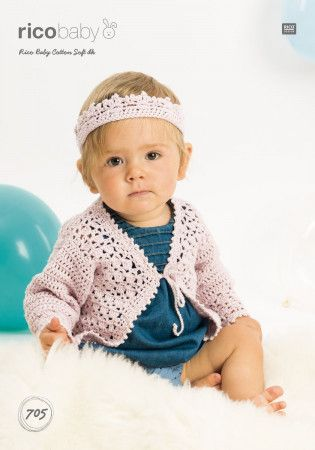 Cardigan and Headband in Rico Baby Cotton Soft DK (705)