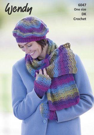 Scarf, Beret and Mitts in Wendy Aurora DK (6047)