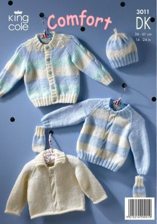 Cardigan, Sweaters, Hat and Mittens in King Cole Comfort Baby DK (3011)