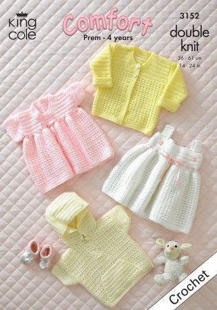 Baby Jacket, Cardigan and Dresses in King Cole Comfort Baby DK (3152)