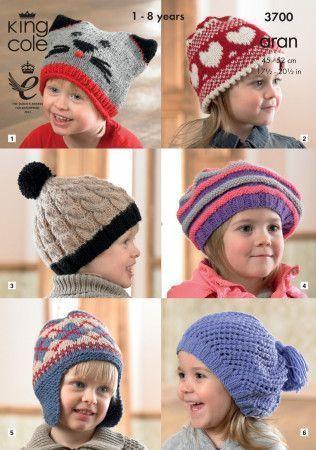 Hats in King Cole Fashion Aran, Comfort Aran and Big Value Aran (3700)