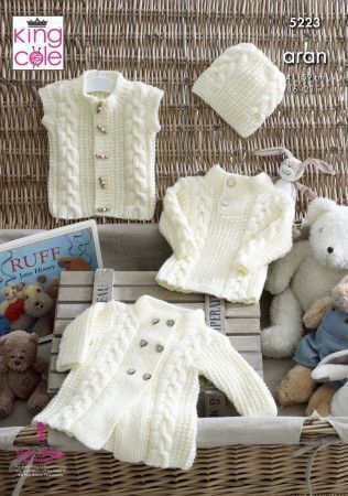 Coat, Sweater, Gilet and Hat in King Cole Comfort Aran (5223)