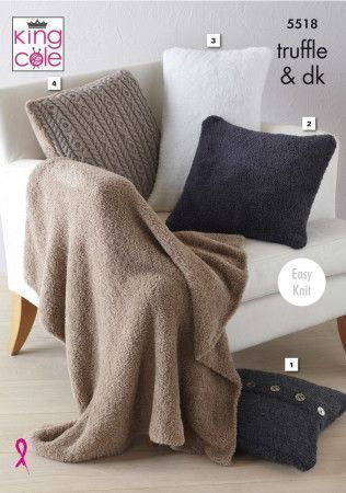 Cushions and Blanket in King Cole Truffle and Merino Blend DK (5518)