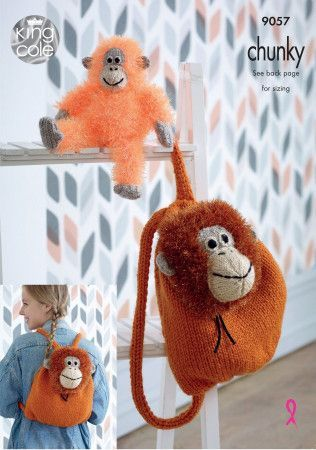 Orangutan Backpack and Toy in King Cole Tinsel Chunky and Big Value Chunky (9057)