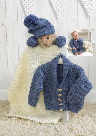 Jacket, Hat, Mittens and Blanket in Stylecraft Baby Aran (4854)