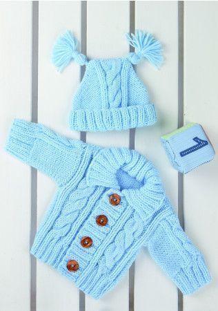 Cardigan and Hat in Stylecraft Wondersoft Baby Aran (8361)