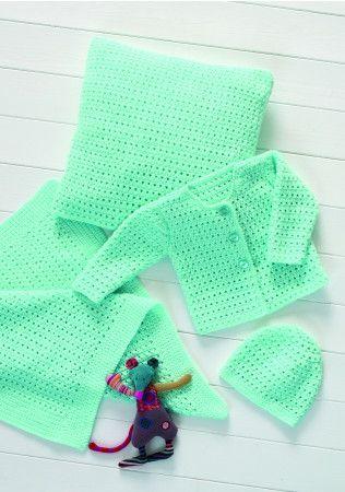 Cardigan, Hat, Blanket and Cushion in Stylecraft Wondersoft DK (8570)