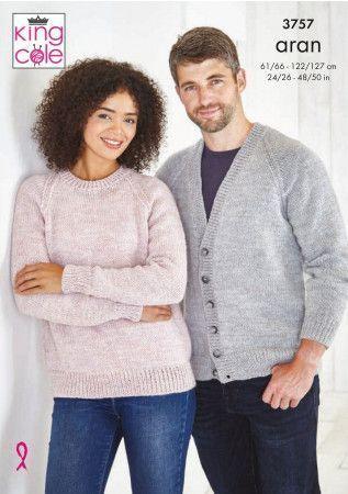 Cardigan and Sweater in King Cole Fashion Aran (3757)
