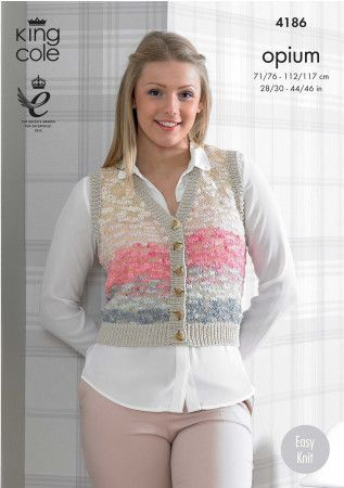 Waistcoat and Slipover in King Cole Opium Palette and Bamboo Cotton DK  (4186)