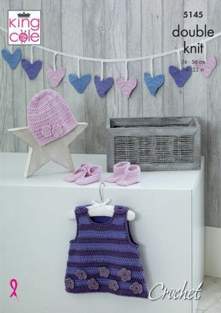 Dress, Bunting, Hat, Shoes and Bootees knitted in King Cole Cottonsoft DK (5145)