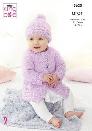 Jackets, Hat and Blanket in King Cole Comfort Aran (5620)