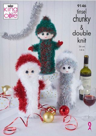 Christmas Wine Bottle Covers in King Cole Tinsel Chunky (9146)