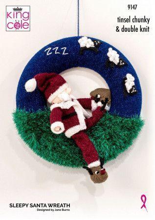 Santa Wreath in King Cole Tinsel Chunky (9147)