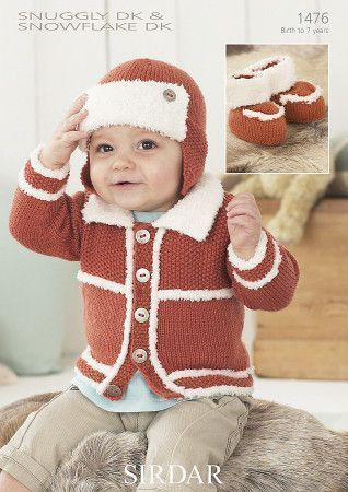Boy's Cardigan, Helmet and Bootees in Sirdar Snuggly DK and Sirdar Snuggly Snowflake DK (1476)