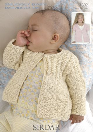 Cardigans in Sirdar Snuggly Baby Bamboo DK (1802)