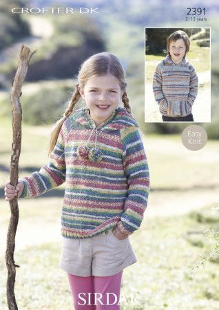 Hooded Raglan Sweater in Sirdar Crofter DK (2391)