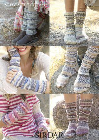 Socks, Leg Warmers and Wrist Warmers in Sirdar Crofter DK (9135)
