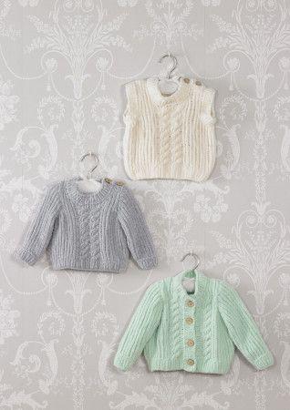 Sweater, Cardigan and Slipover in James C Brett  Flutterby Chunky (JB527)