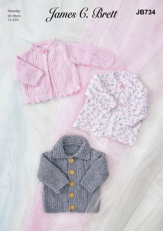 Jacket and Cardigans in James C.Brett Flutterby Chunky (JB734)