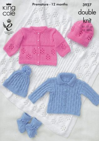 Jackets, Hat, Bootees and Shawl in King Cole Cottonsoft DK (3927)