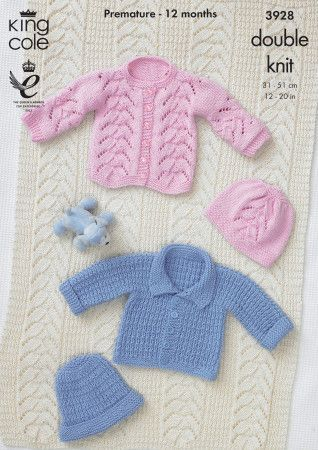 Jackets, Hat, Bootees and Shawl in King Cole Cottonsoft DK (3928)