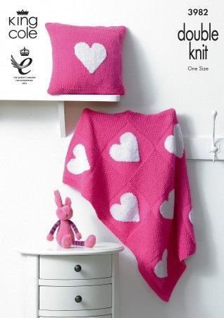 Blanket and Cushion in King Cole Comfort Baby DK (3982)