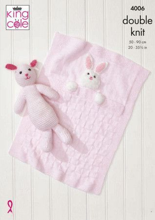 Baby Blankets and Bunny Rabbit Toy in King Cole Comfort DK and Truffle (4006)