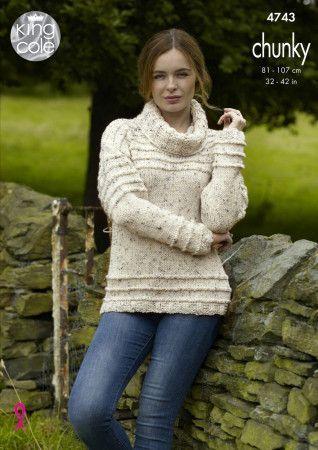 Cardigan and Sweater in King Cole Chunky Tweed (4743)