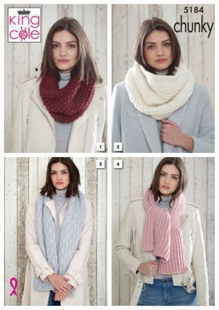 Snoods and Scarves in King Cole Timeless Chunky (5184)