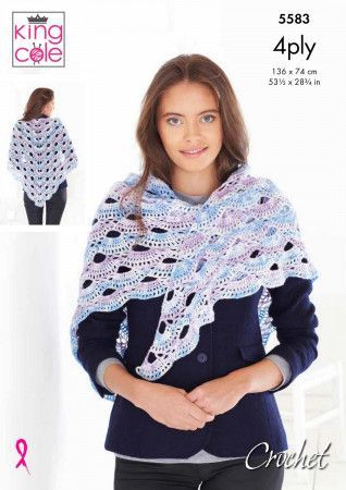 Shawls in King Cole Drifter 4 Ply (5583)