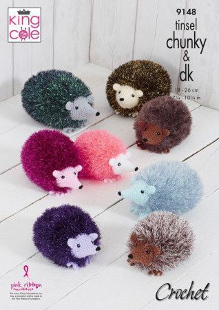 Hedgehogs in King Cole Tinsel Chunky and Dollymix DK (9148)