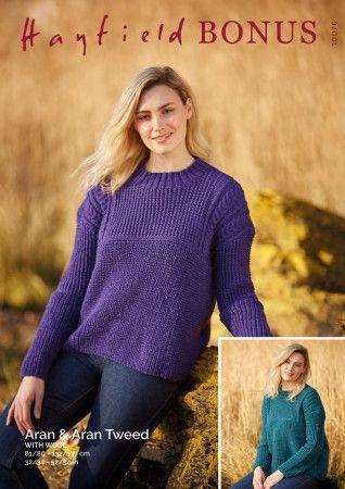 Sweater in Hayfield Bonus Aran and Bonus Aran Tweed with Wool (10076)