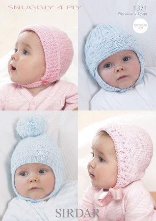 Bonnets and Helmets in Sirdar Snuggly 4 Ply (1371)